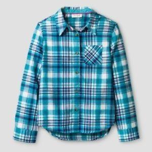CAT & JACK Girl's Plaid Button Up Shirt sz XL NEW